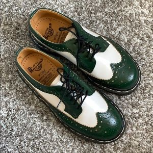 Dr. Martens Green and White Wing Tip Shoes